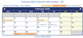 February 2020 Holidays NZ