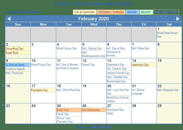 February Holidays 2020 USA