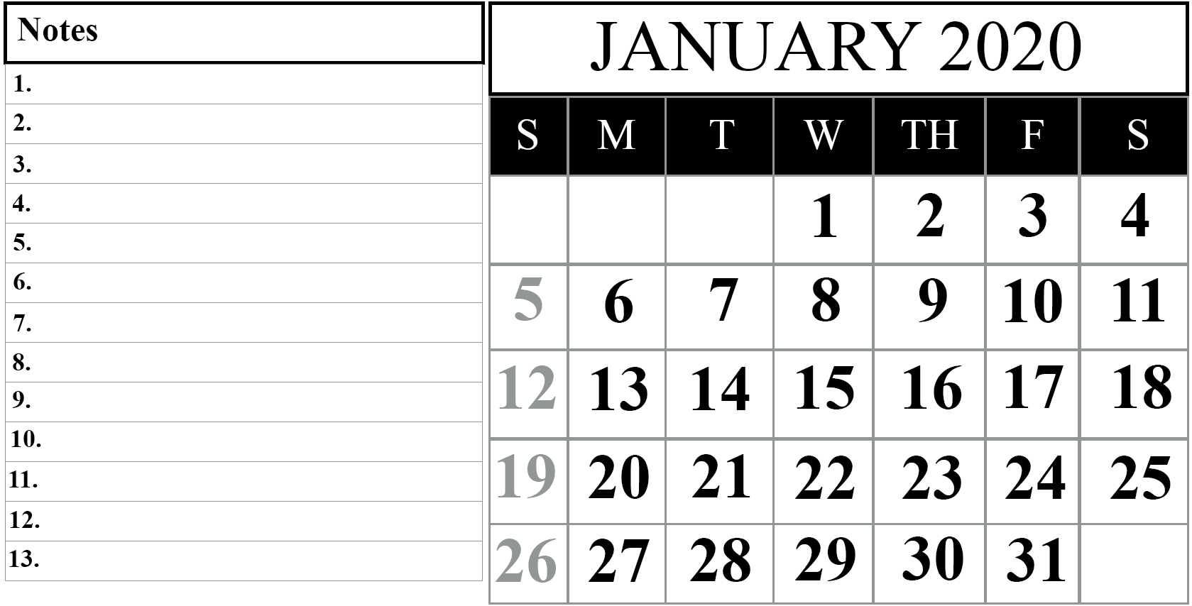 Free Printable Calendar of January 2020