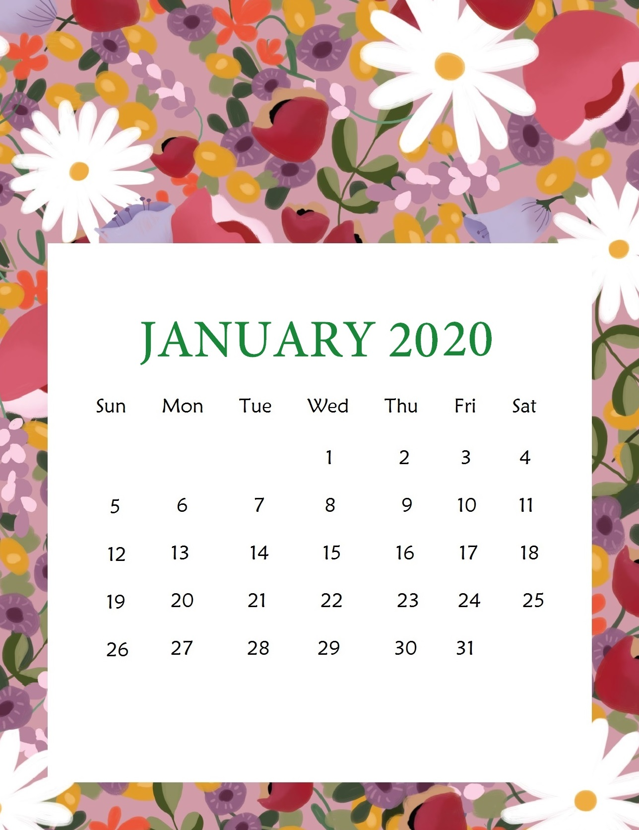 January 2020 Cute Calendar Wallpaper