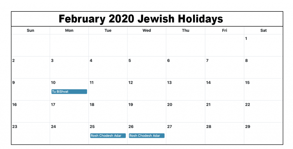 February Holidays 2020 Calendar with Festival Dates 1