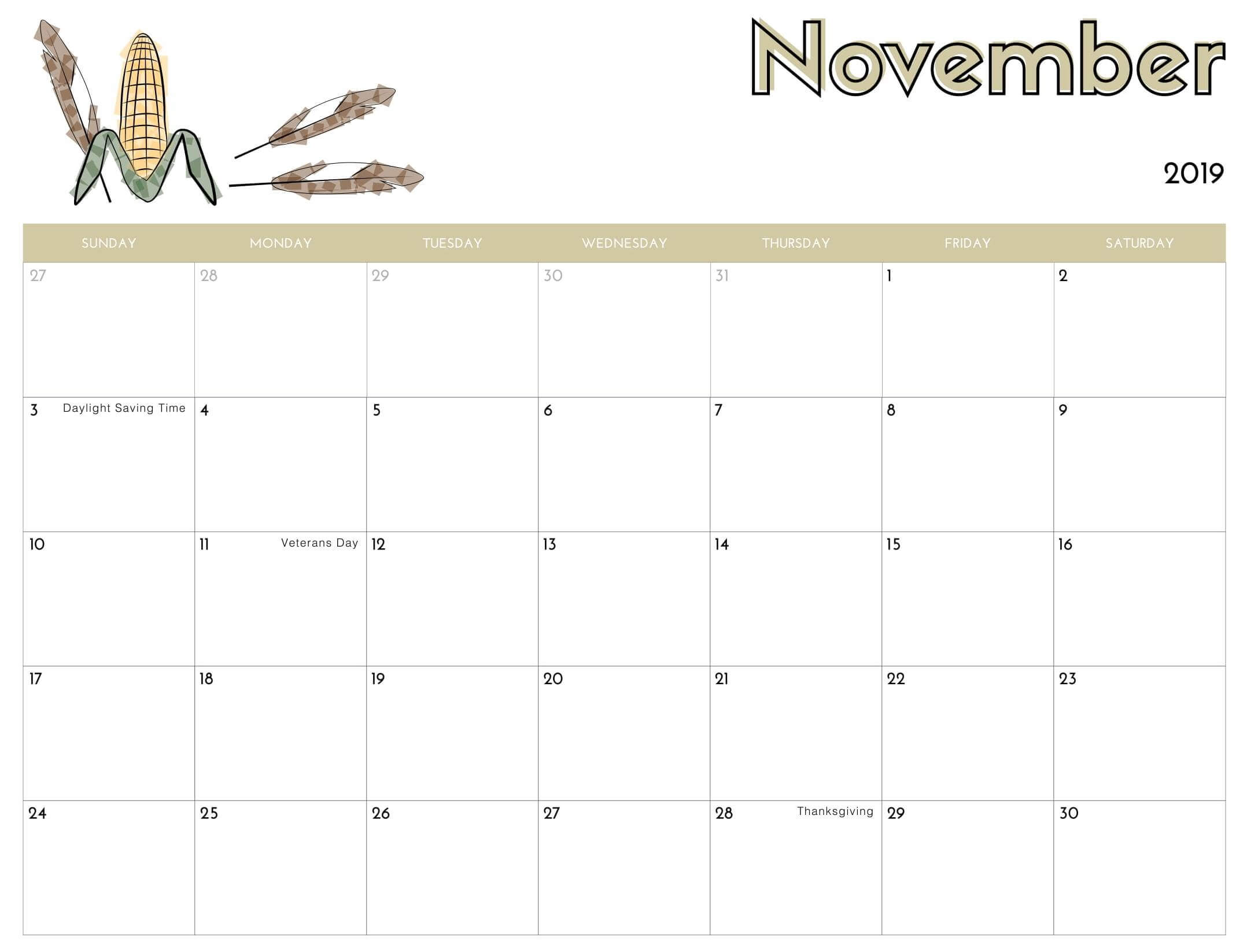 November 2019 Calendar Printable Images