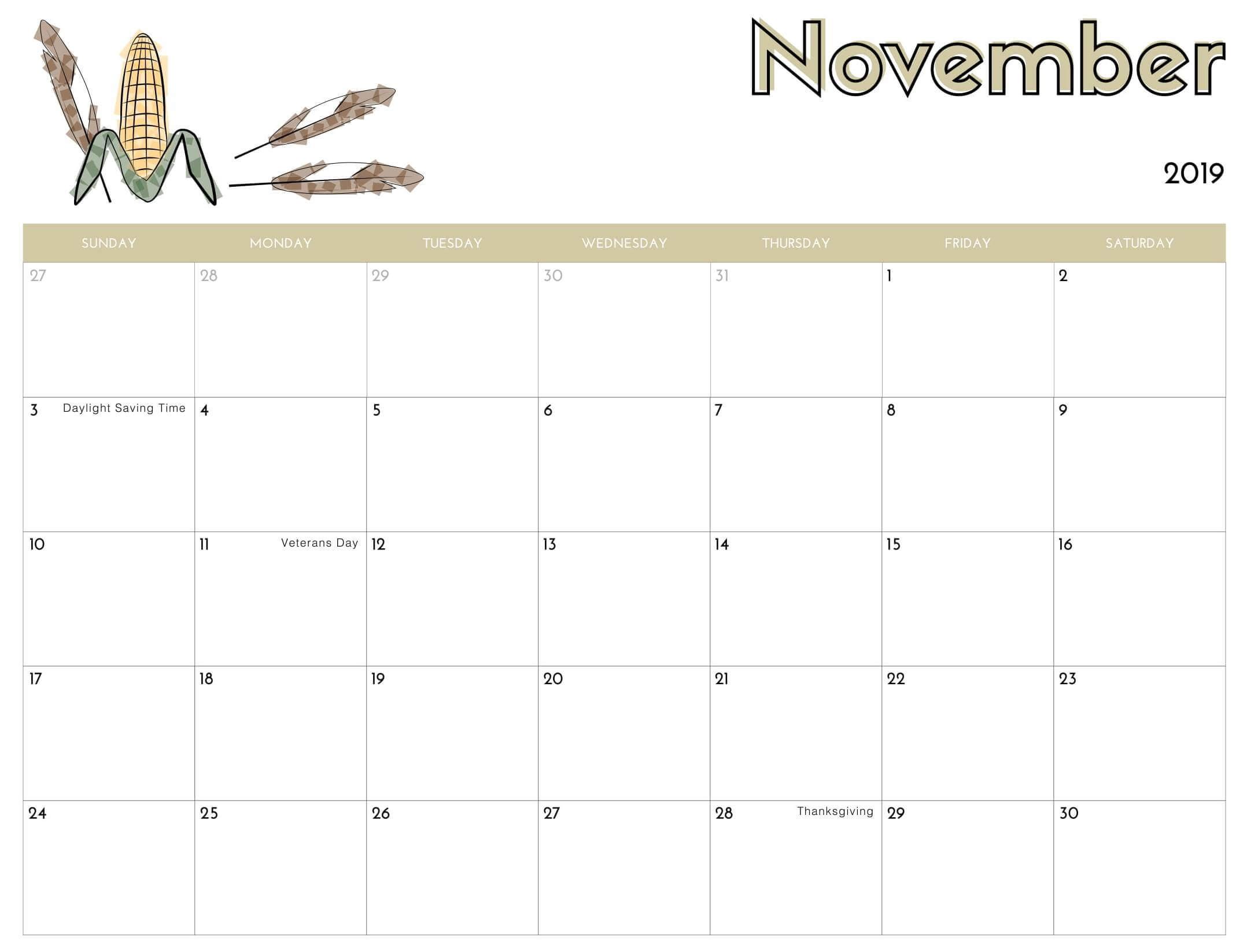 November 2019 Calendar Printable Images