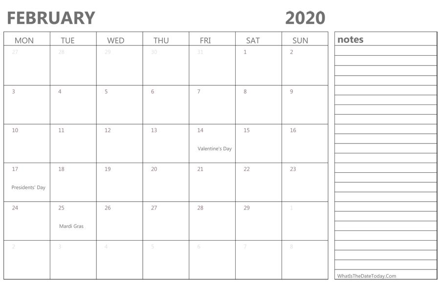 february 2020 holidays