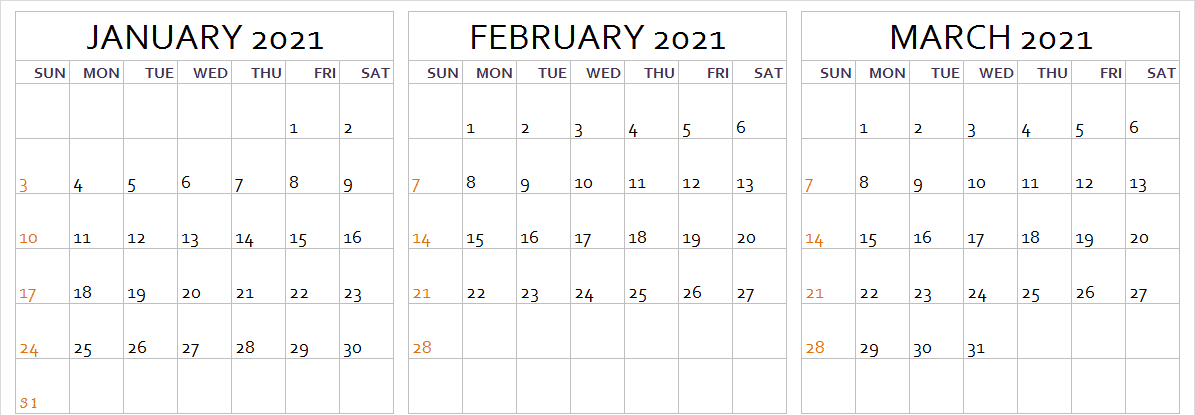 3 Month January February March 2021 Calendar