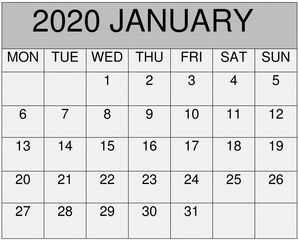 Blank January Calendar 2020 Template