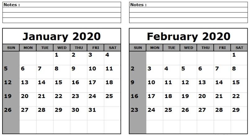 Blank January February 2020 Calendar Notes