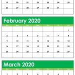 Blank January February March 2020 Calendar