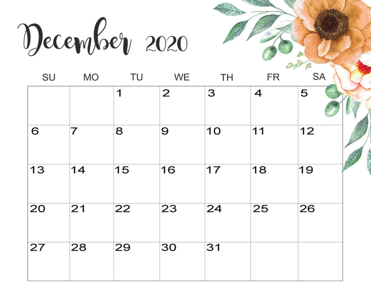 Cute December 2020 Calendar Desktop Wallpaper