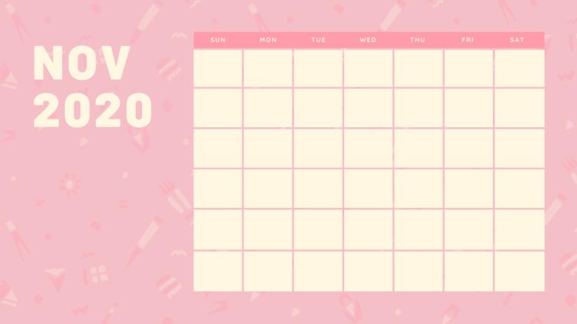 Cute November 2020 Calendar Blank Print