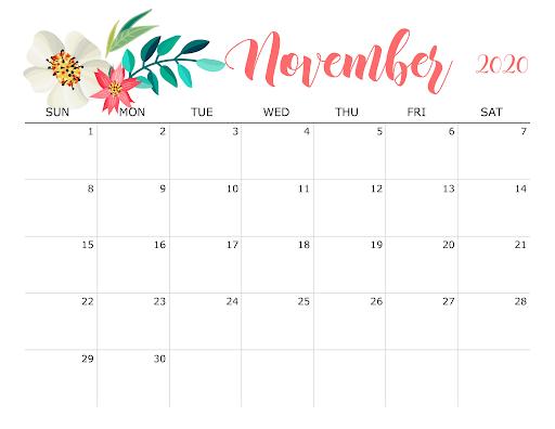 Cute November 2020 Flower Calendar