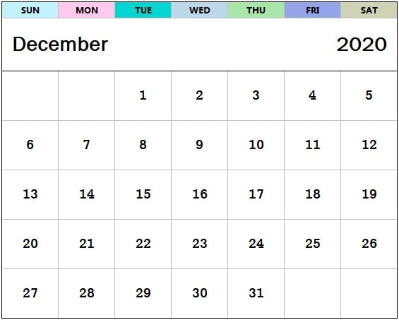 December 2020 Calendar Wallpaper For Desktop, Laptop, iPhone