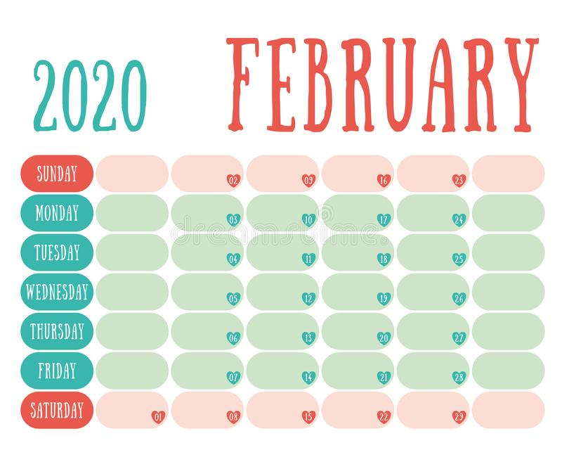 February 2020 Calendar For Wall