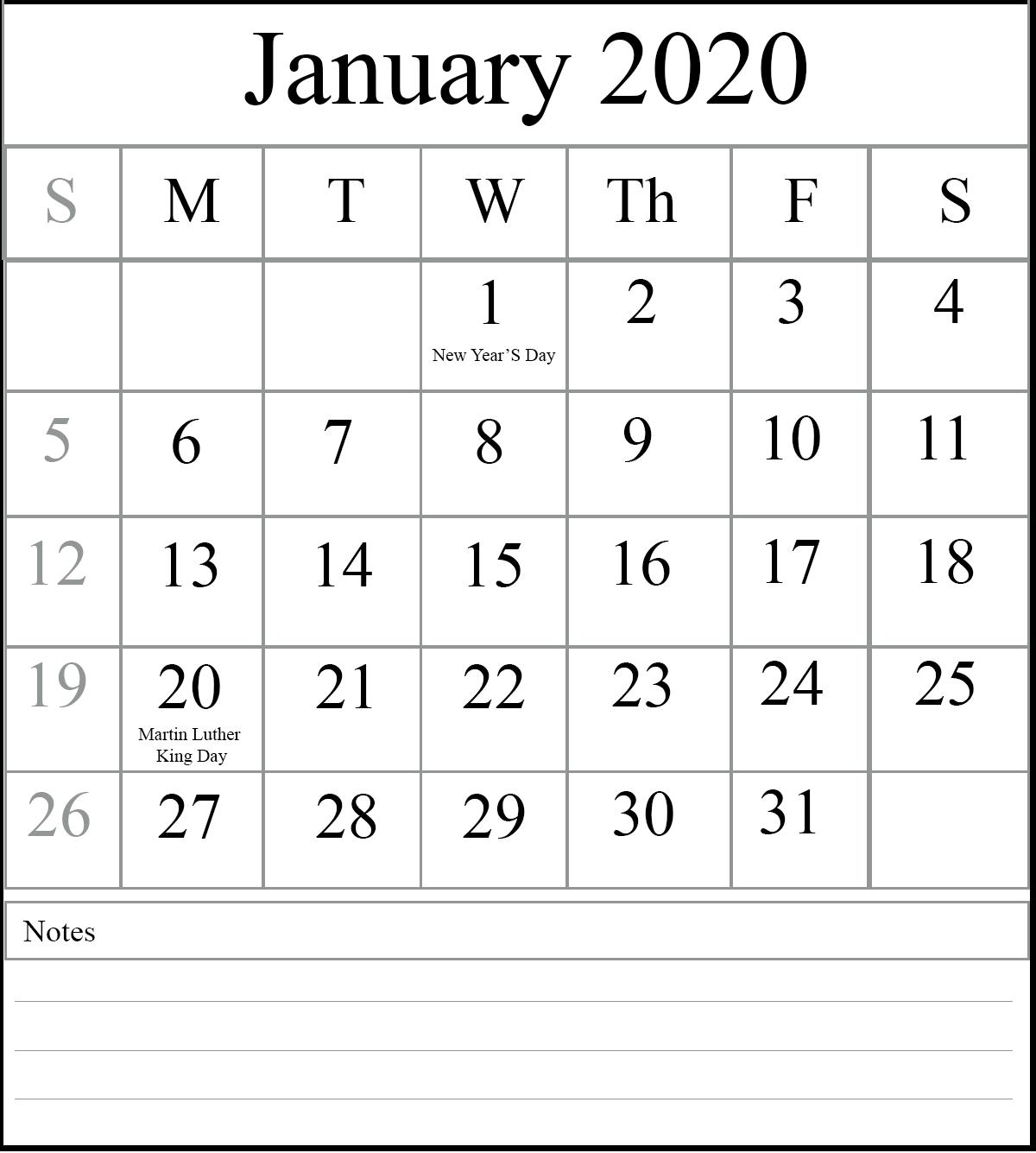 Fillable January Calendar 2020 Vertical