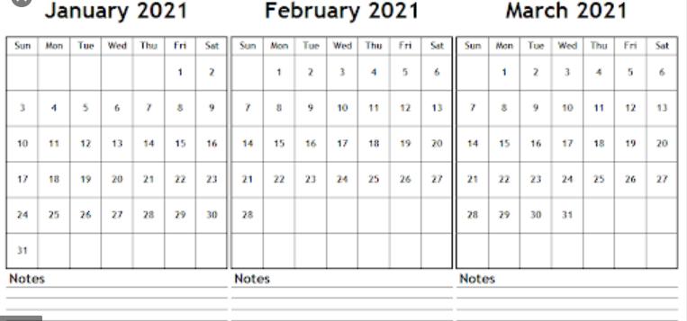Free 2021 January February March Calendar Word