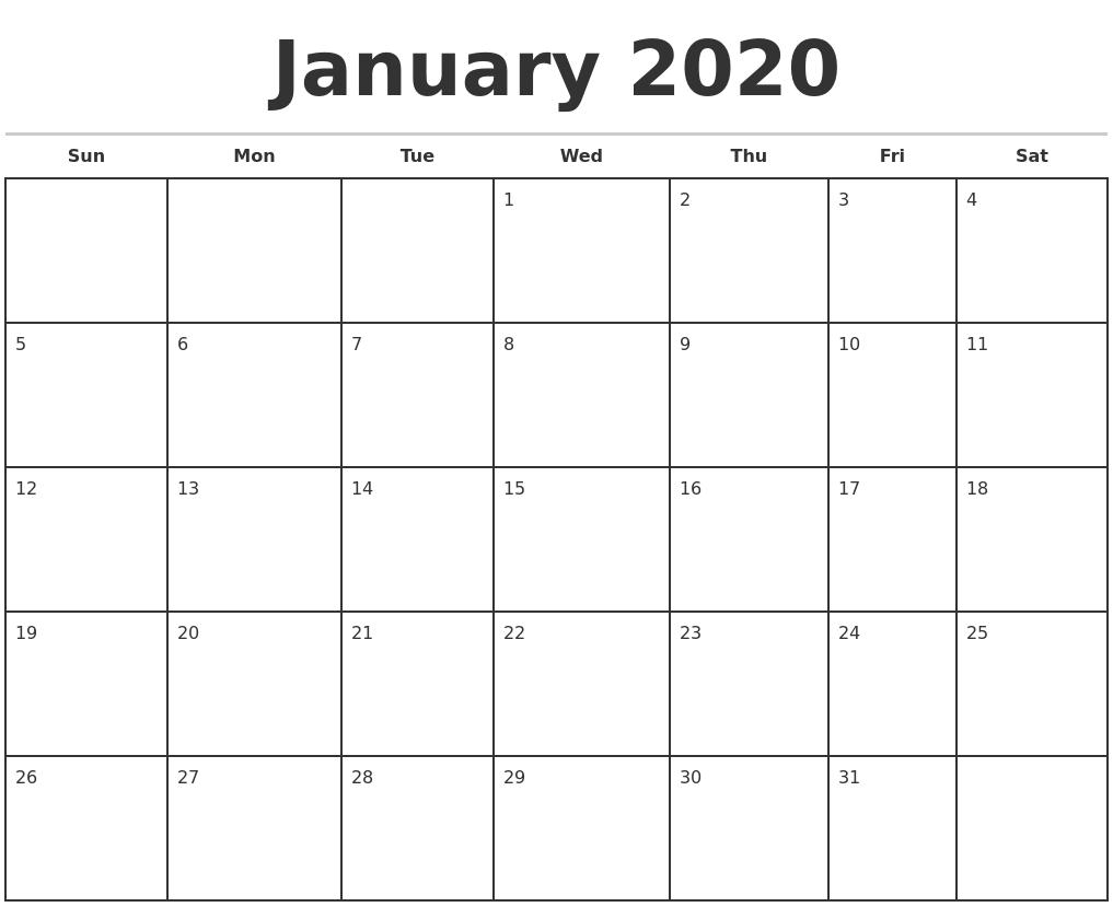 Free January Calendar 2020 Printable