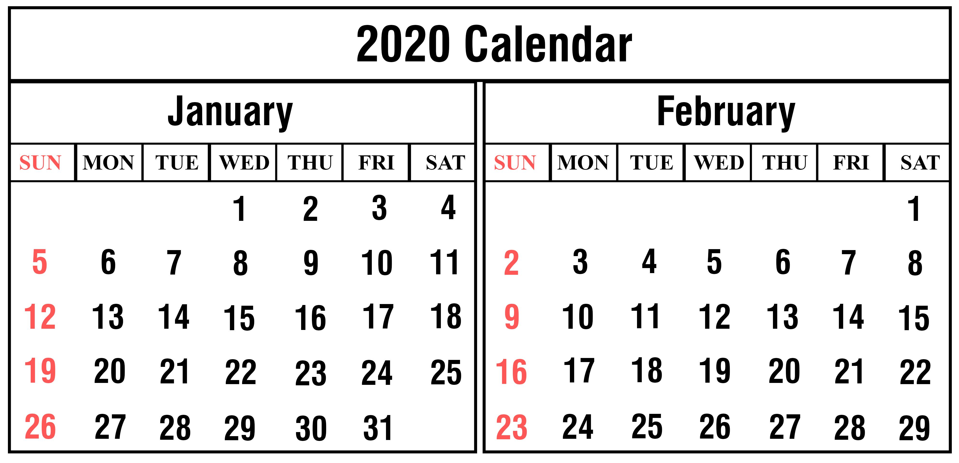 Free January and February 2020 Calendar