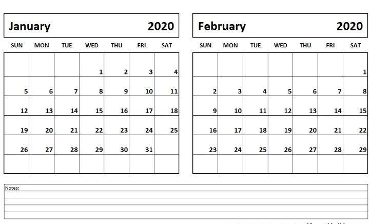 Free January february 2020 Calendar Printable