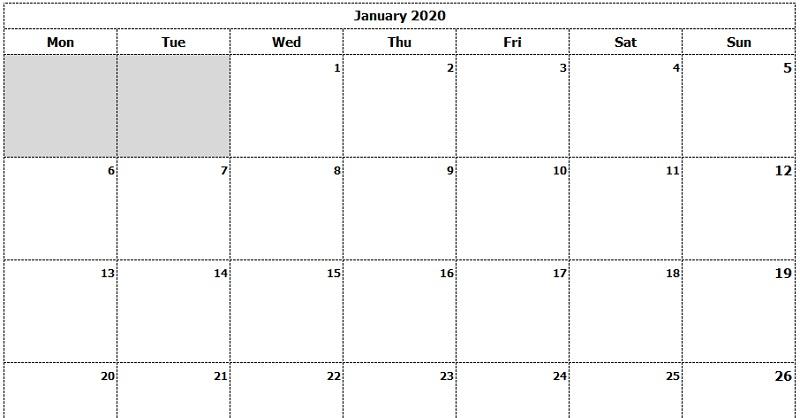 January Calendar 2020 A4 Page