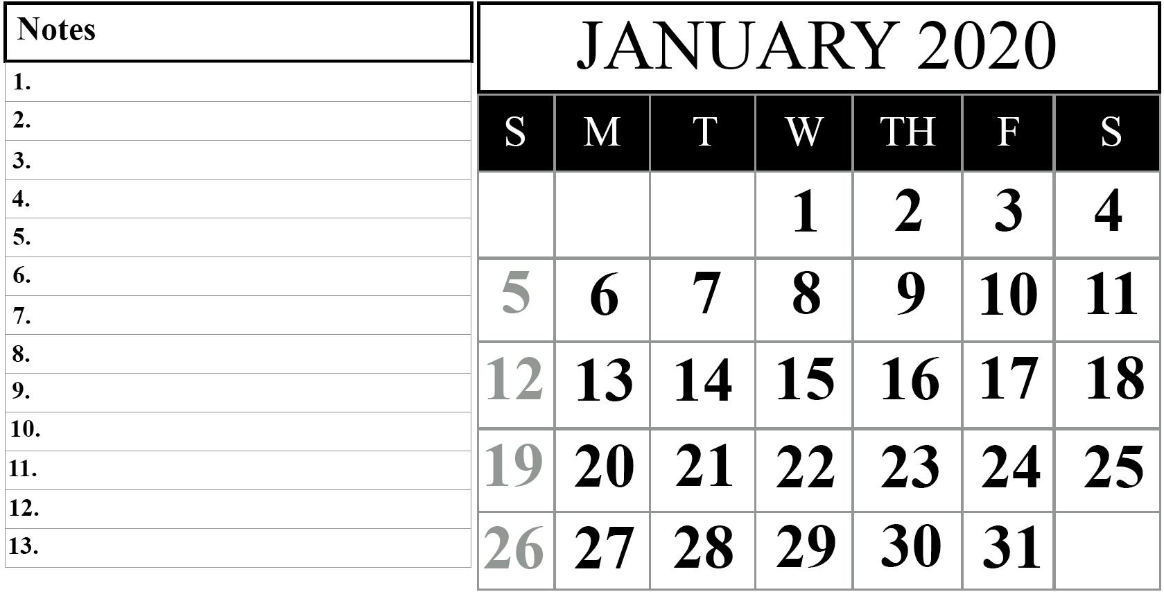 January Calendar 2020 Editable