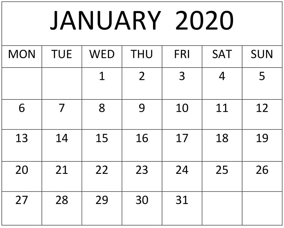 January Calendar 2020 Landscape