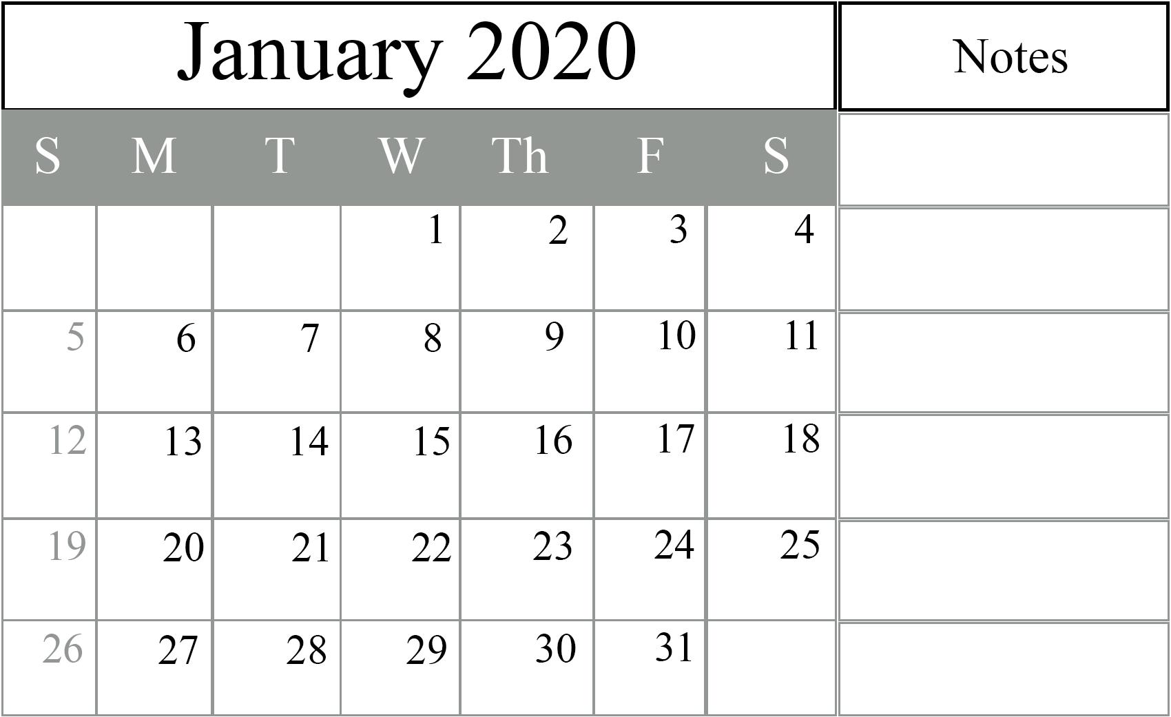 Editable January Calendar 2020 Template Portrait Landscape A4 Page 1