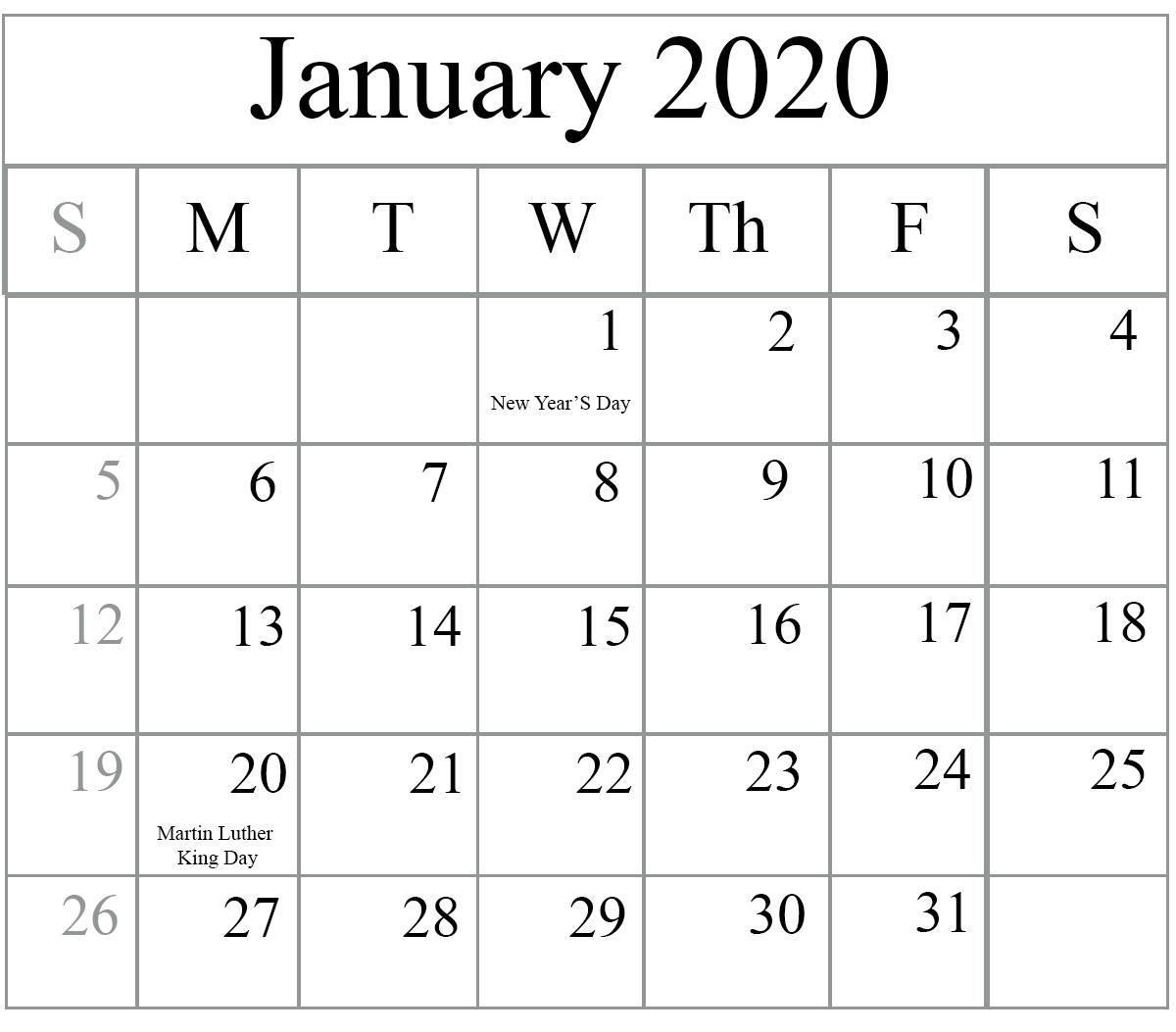 January Calendar 2020 Portrait