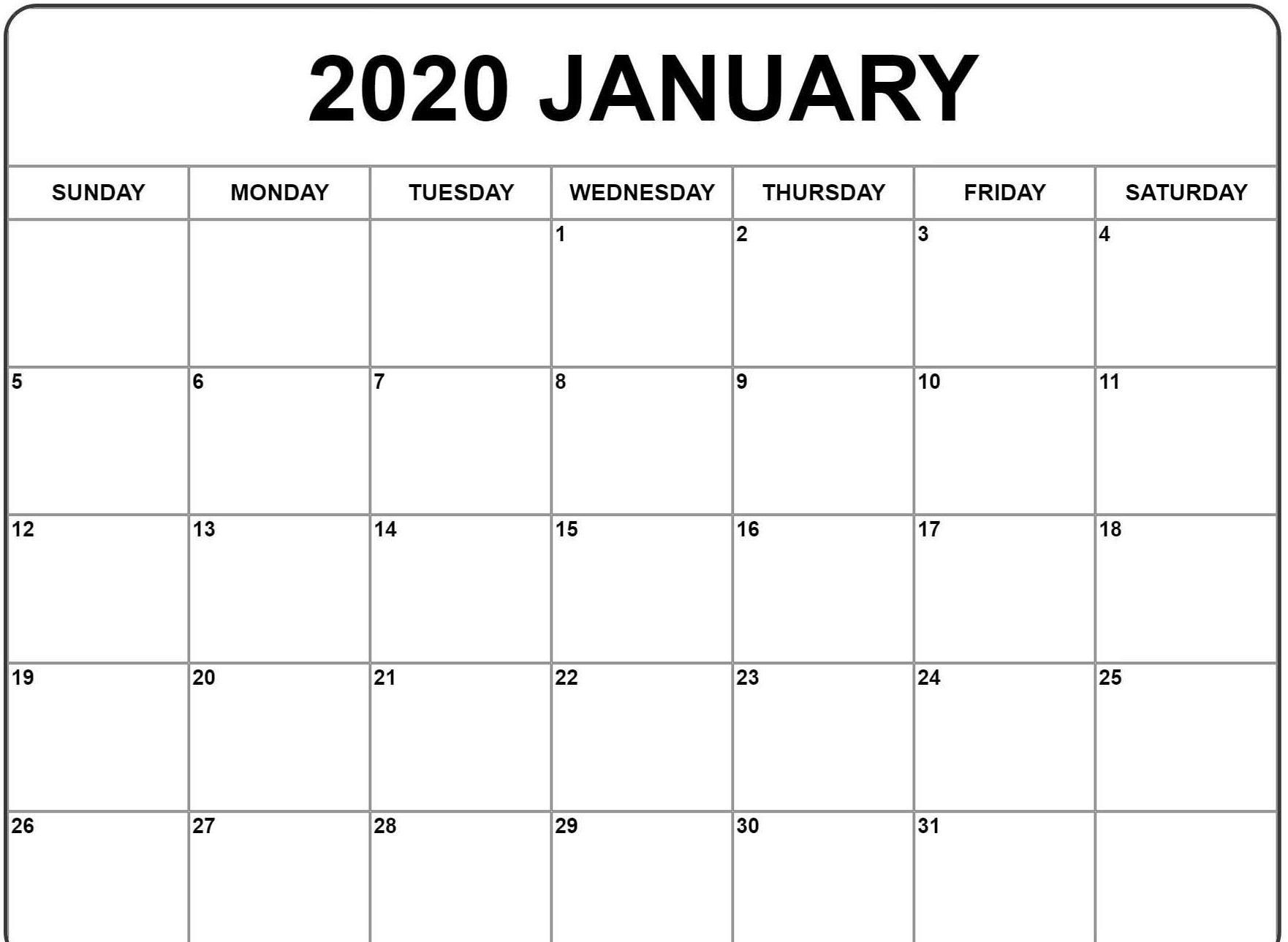 January Calendar 2020
