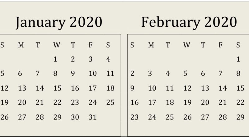 January February 2020 Calendar Printable Template PDF Word Excel 1