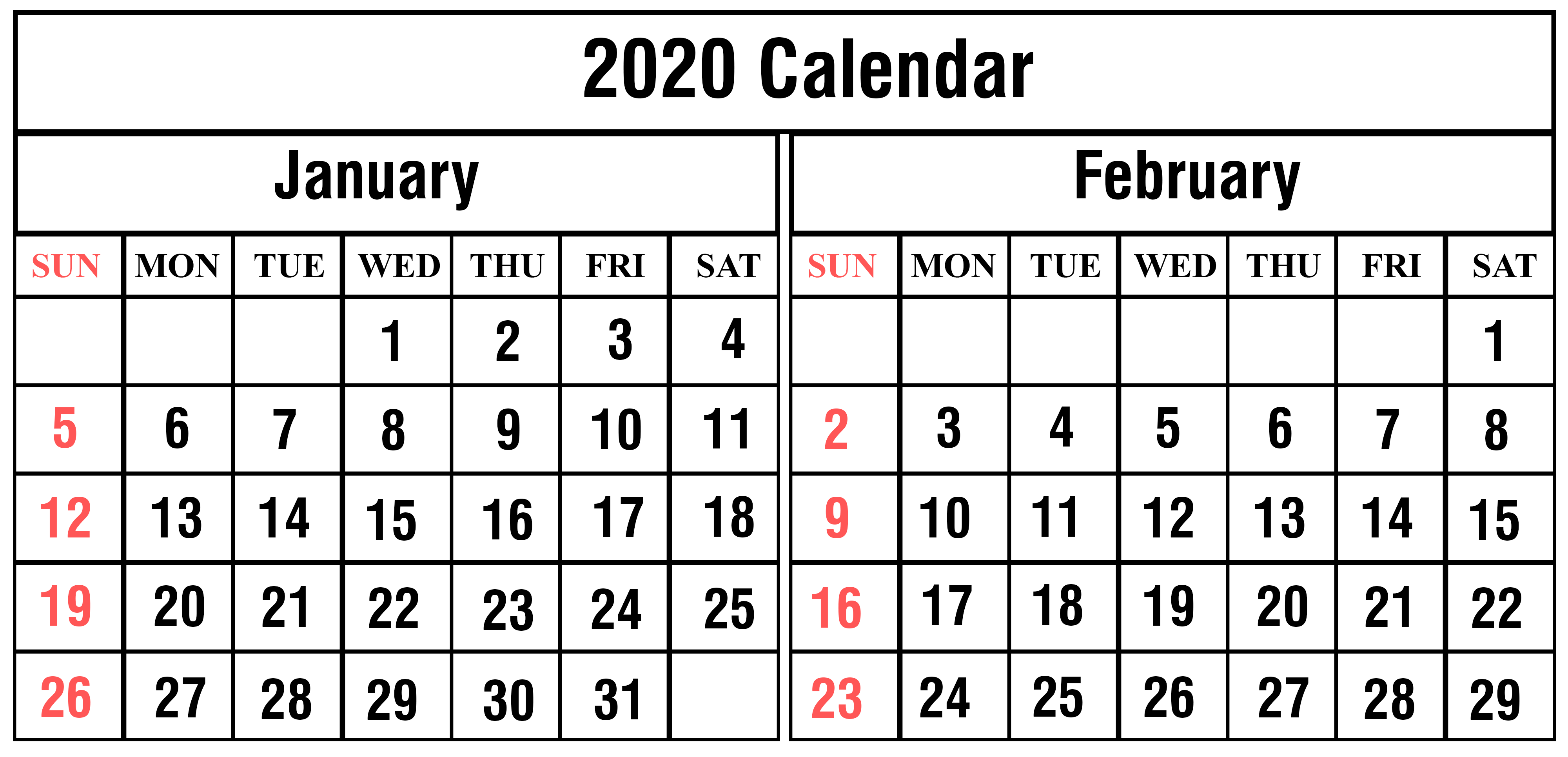 January February 2020 Calendar Printable Template