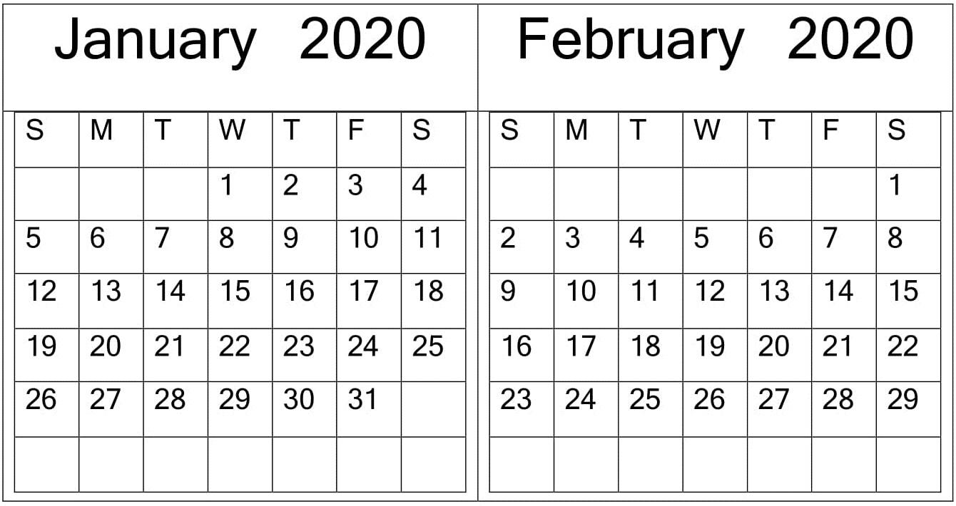 January February 2020 Calendar Word