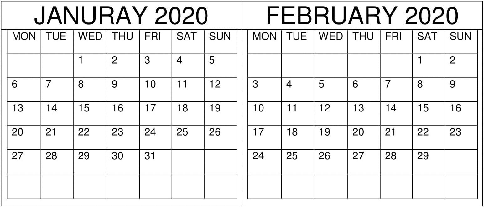 January February Calendar 2020