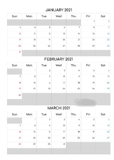 January February March Calendar 2021