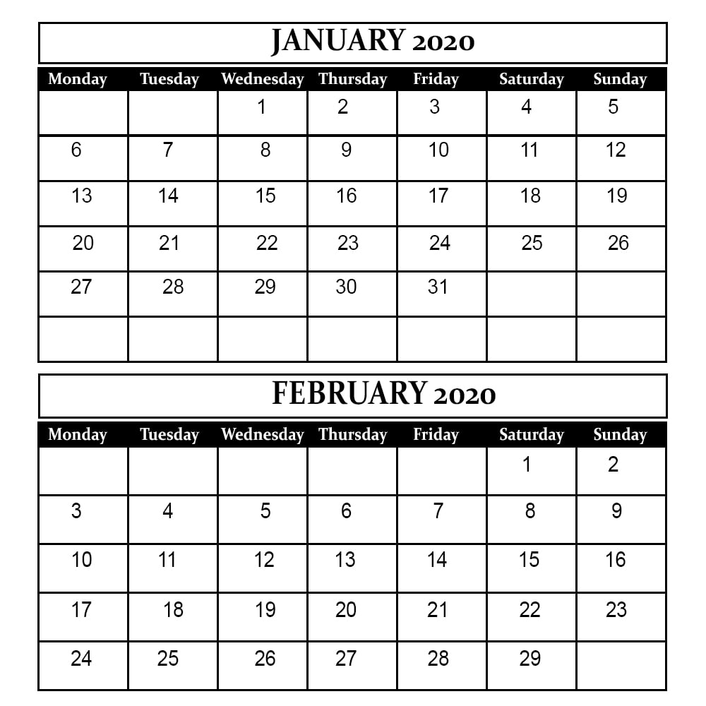 January February 2020 Calendar Printable Template PDF Word Excel 2