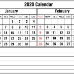 Monthly January February 2020 Calendar