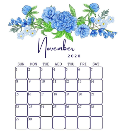 November 2020 Floral Calendar Cute