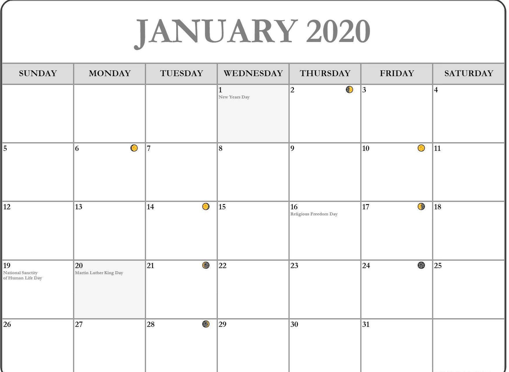 January 2020 Lunar Calendar Moon Phases