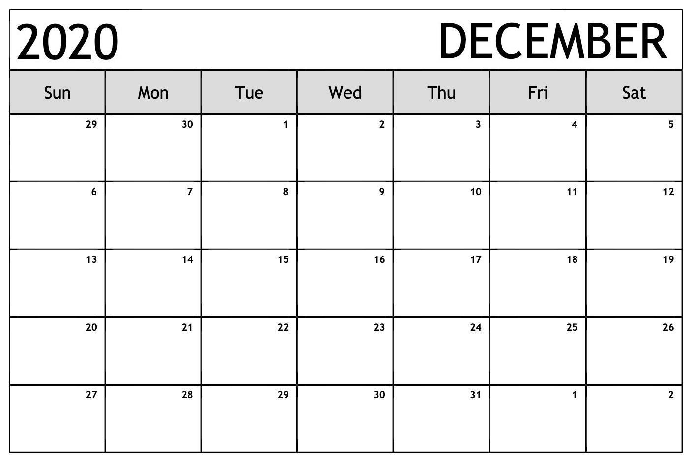 Month Of December 2020 Calendar