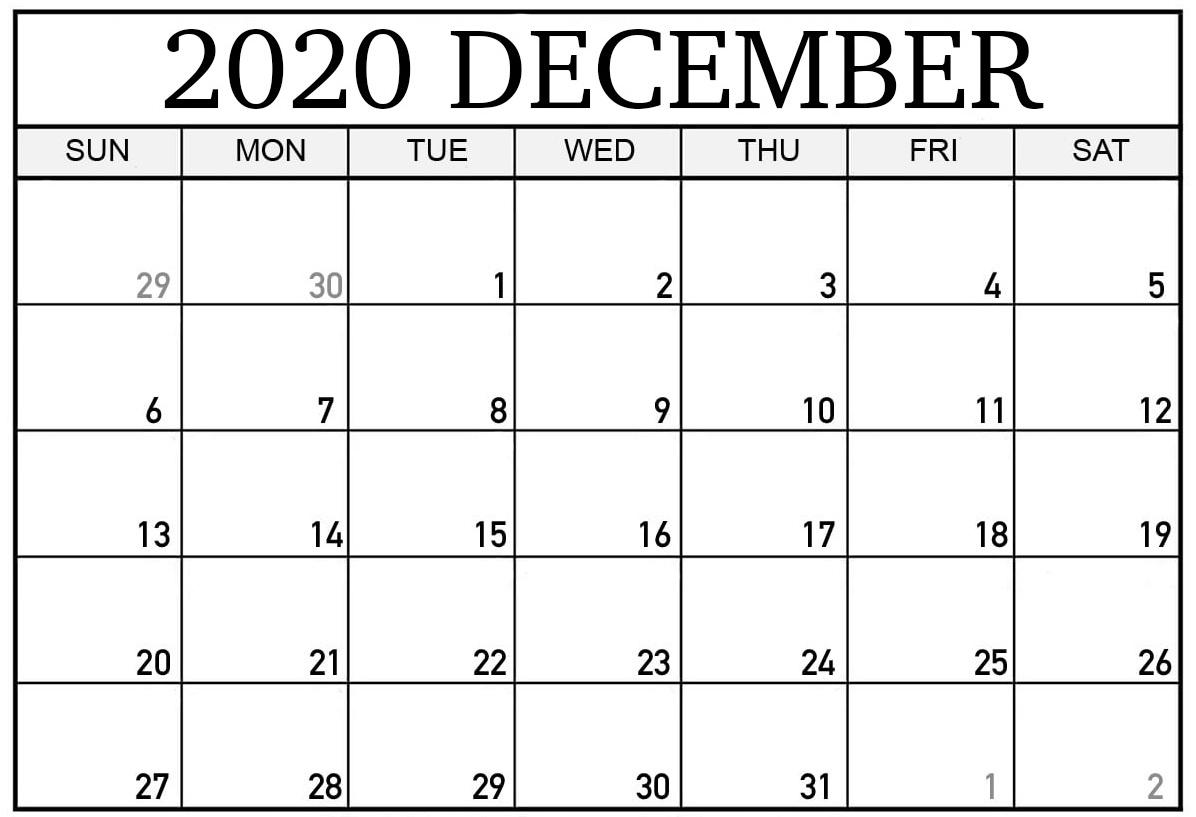 December 2020 Calendar PDF Word Excel