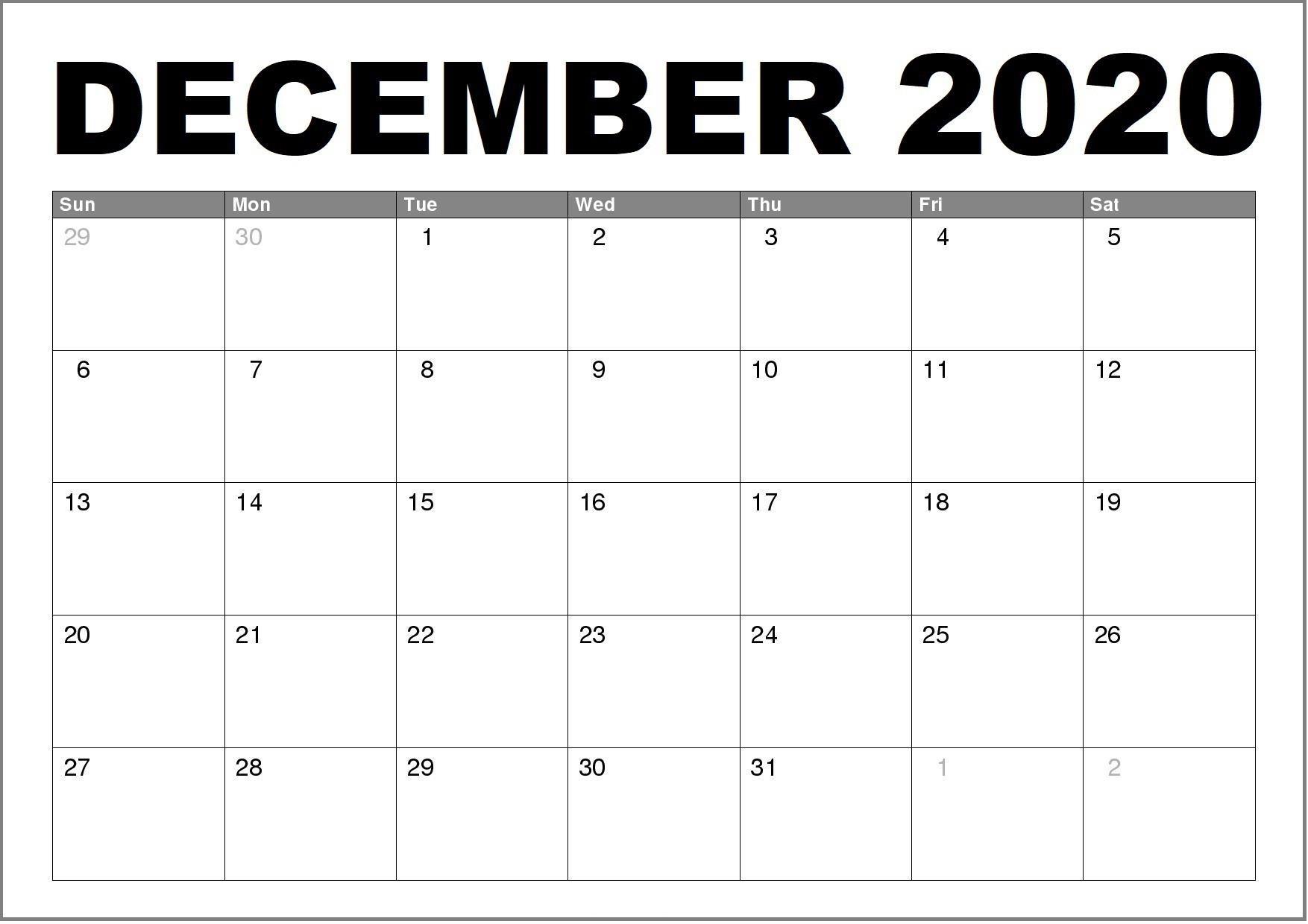 December Calendar For 2020