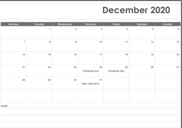 December 2020 Fillable Calendar