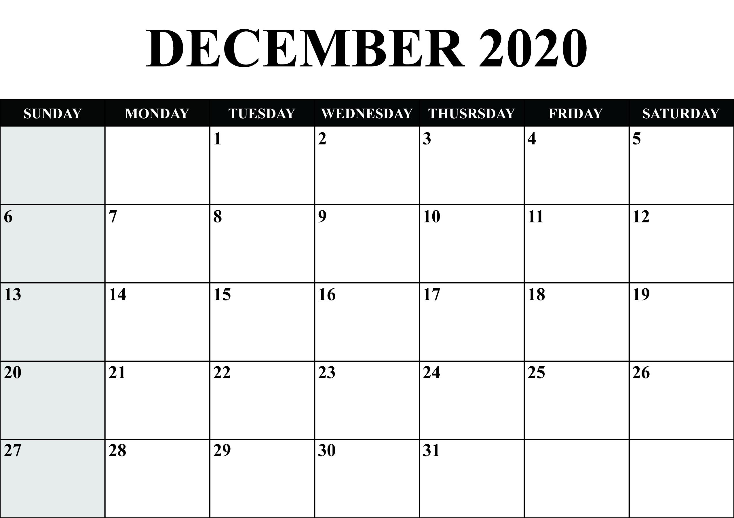 December Calendar 2020 Blank