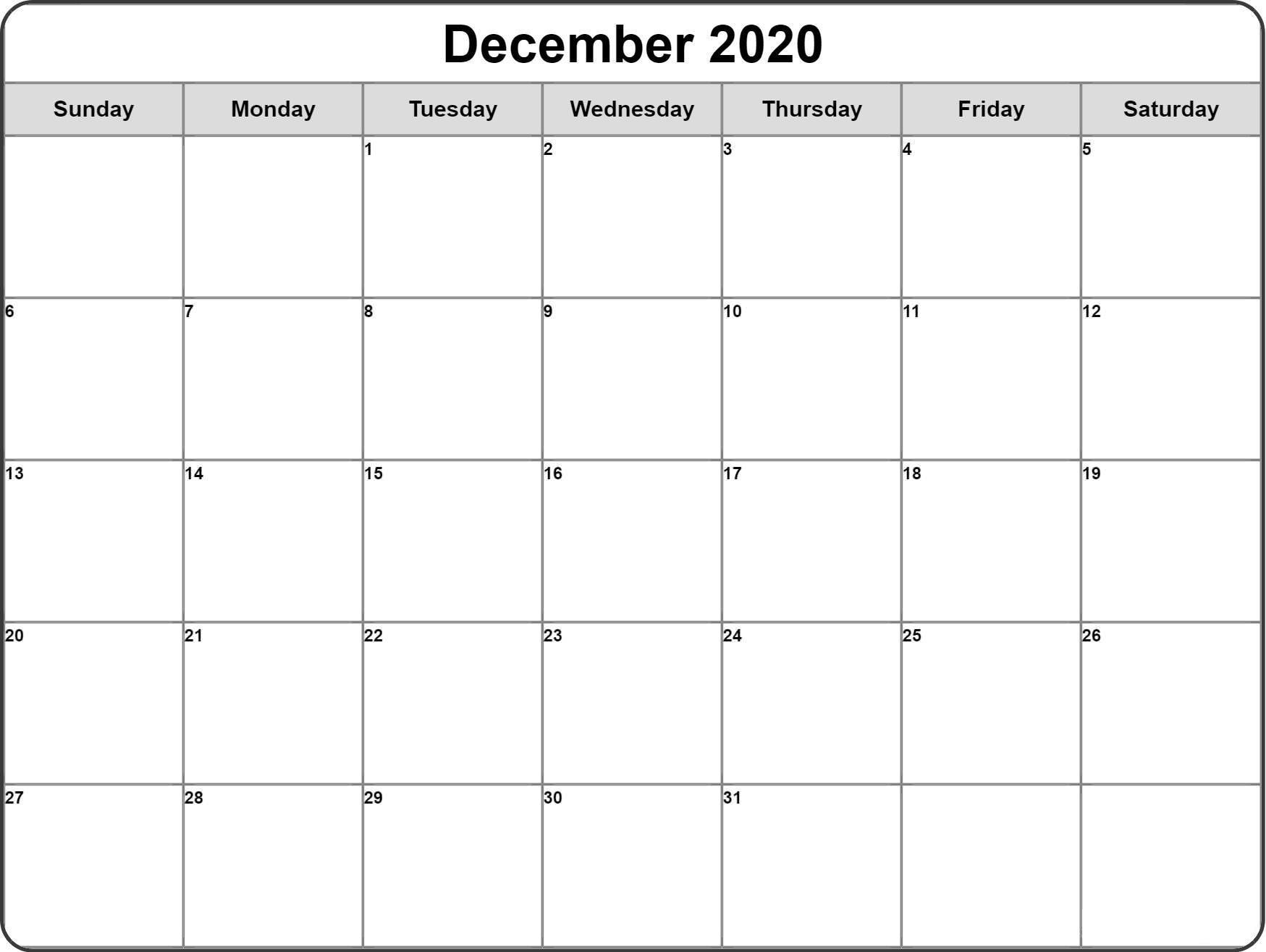 December Month Calendar 2020