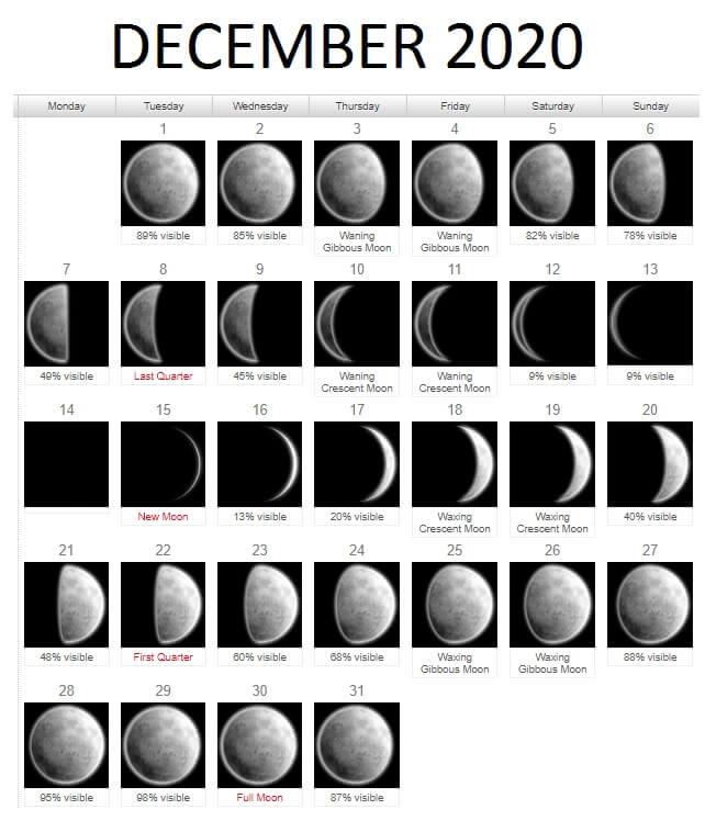 Free December 2020 Lunar Calendar