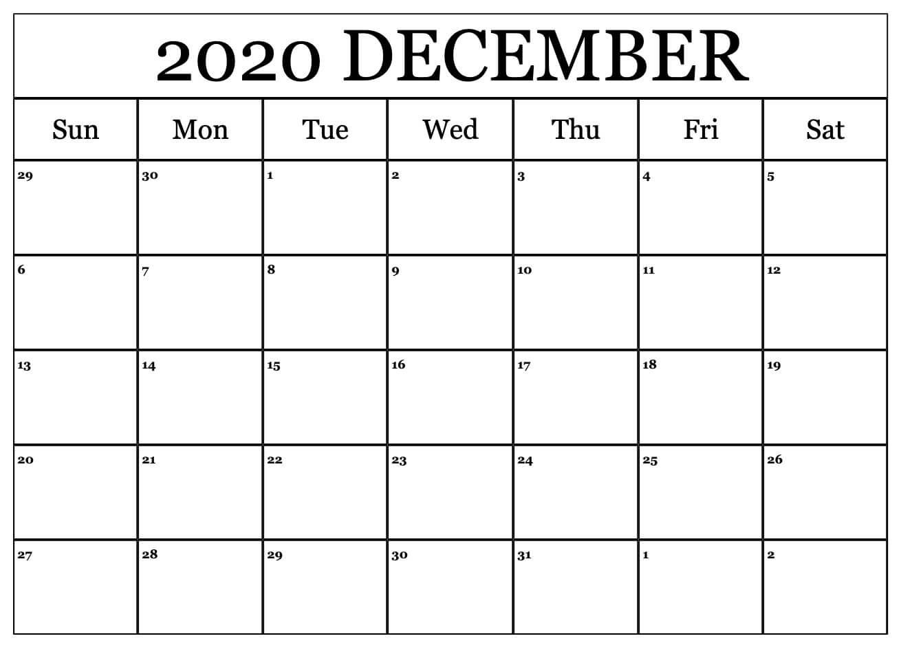 Printable Blank Calendar for December 2020