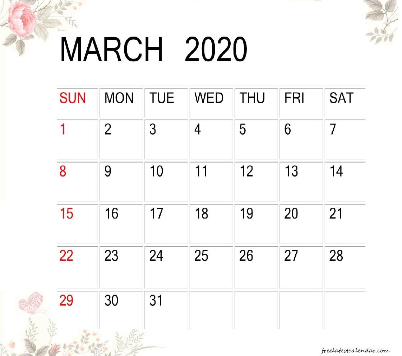 Cute Floral March 2020 Calendar