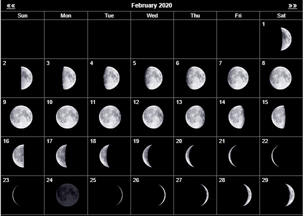Moon Phases of February 2020 Lunar Calendar Template Dates with Fillable notes 1