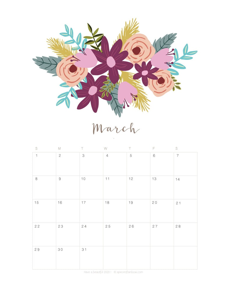 Floral March 2020 Calendar Template