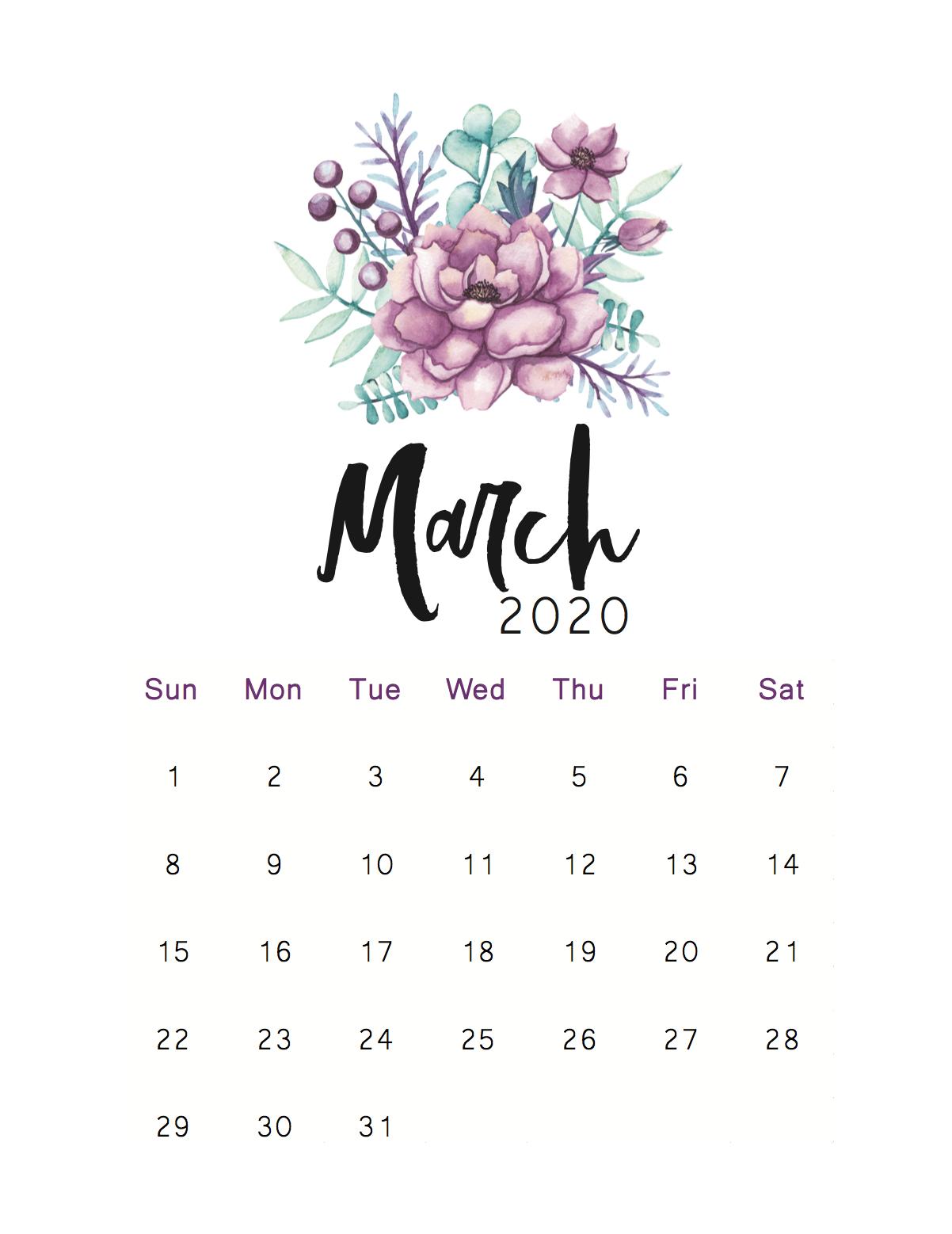 Floral March 2020 Wall Calendar