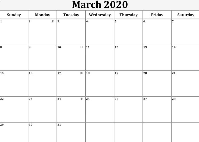 March 2020 Moon Phases Template